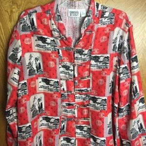 Chico's Design 100% Silk Kimono Style Blouse